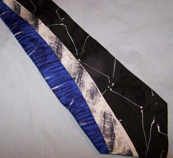 Cerruti CXIII Artsy Bold Power Blue Black Silk Tie Necktie C191 ~