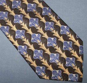 Kolte Italy Black Blue Gold Silk Tie Necktie C14 ~