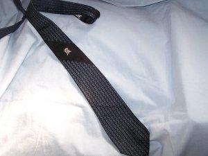 Vintage Unlined Black Blue Geometric Design Tie C2 ~