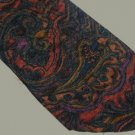 Adolfo Dark Paisley Rust, Orange Black W76  Tie Necktie