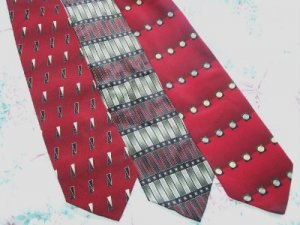 Lot of 3 DiMoggio Red Bold Ties Neckties  W107