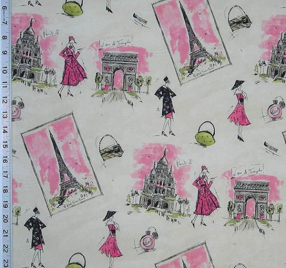 "Waverly TRES CHIC Pink Black Eiffel Tower Paris Drapery Upholstery Fabric 54"""