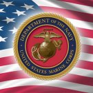 UNITED STATES MARINE & USA FLAG