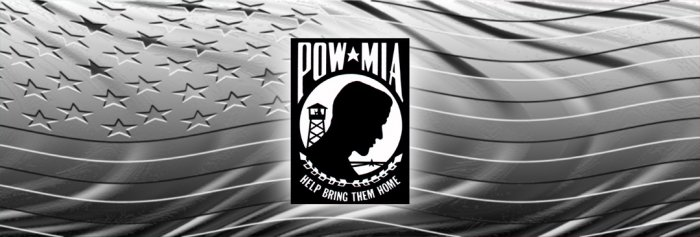 POW MIA PRISON OF WAR MISSING IN ACTION BLACK/WHITE
