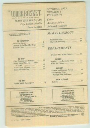 Workbasket October 1975 Needlework, Sewing, Crafts, Foods, Gardening