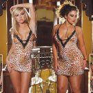 2 Piece Leopard Print Babydoll Set -Queen Size