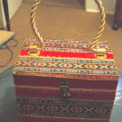 Square Handbag Purse Covered in Red Velvet Gold Handle #900031