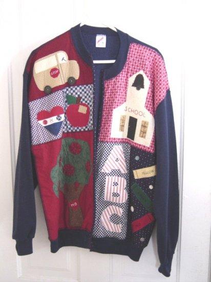 Hand Decorated Jerzees Sweatshirt Jacket School Theme Size XL #900027