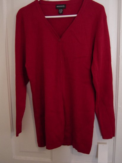 Red Massini Collection Lightweight Cardigan Sweater Extra Large  #900028