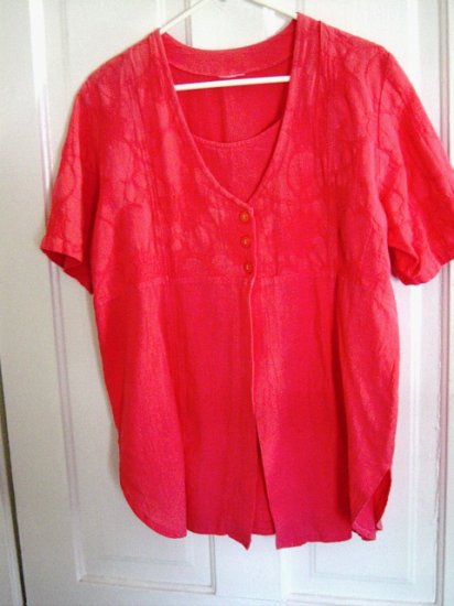 Beautiful Melon Crinkle Material Short Sleeve Summer Blouse Size L  #900048