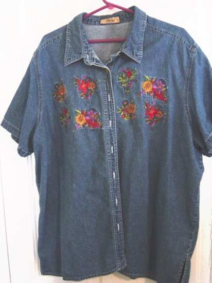 Beautiful Denim Just My Size Short Sleeve Summer Blouse Size Extra Large  #900049