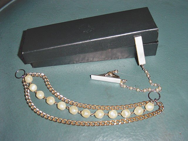 Vintage Mother of Pearl Sweater Guard and Belt Chain #900086