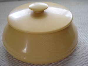 Vintage Caramel Color Pyralin Powder Jar Trinket Box  #900063