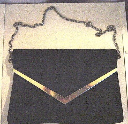 Woman's Vintage Black Clutch Handbag at The Clothes Horse #900172