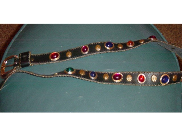 Dark Brown Leather or Vinyl Belt with Colored Stones  #900190
