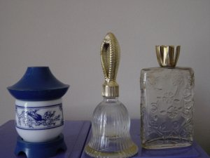 Three Vintage Perfume Bottles Avon Bell, Asian Bottle and Floral Bottle #900210