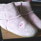 Pair of Medium Pink Suede Leather Plush Lined Children Shoes #900214