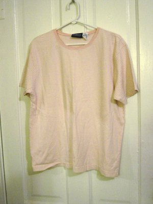 Woman's Liz Claiborne Lizsports Peach Striped Round Neck Shirt Top Size XL (16/18)  #900236