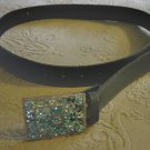 Gray Leather or Vinyl Belt with Square Silver and Turquouise Floral Buckle #900245