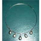 Silver Wire Choker with Five Silver Pendants Necklace  #900281