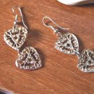 Pair of Gold Tone Two Filigree Hearts Dangle Earrings  #900303
