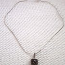 Silver Necklace Garnet Silver Crystal Pendant    #900314