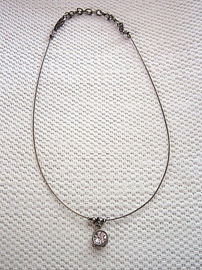 Silver Wire and Chain Choker with Large Round Cubic Zirconia Pendant Necklace #900342