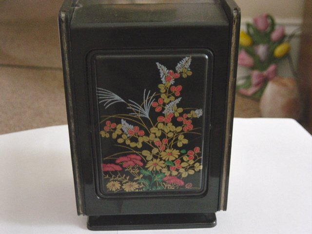 Vintage Oriental Plastic Black Jewelry Box with Mirror #900361