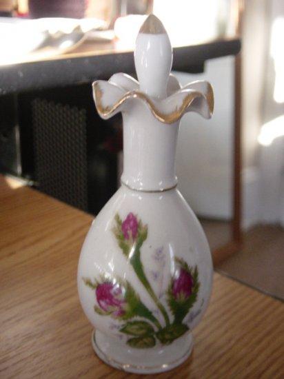 Vintage Moss Rose Dresser Vanity Fluted Top Bottle #900369