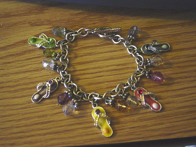 """Single Link Silver Charm Bracelet with Jeweled Flip Flops and Bead Charms 7 1/2"""" #900372"""