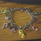 "Single Link Silver Charm Bracelet with Jeweled Flip Flops and Bead Charms 7 1/2"" #900372"