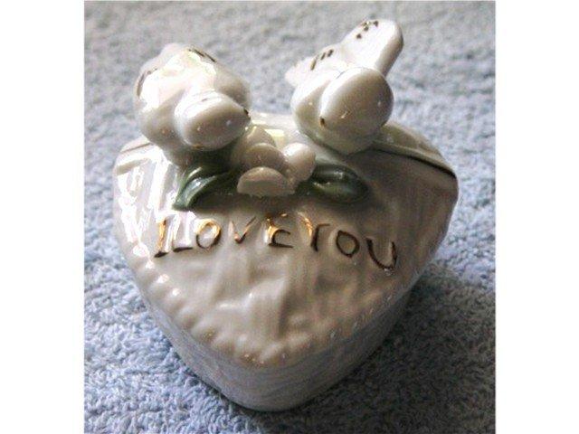 White Porcelain Love Birds Trinket Box #900377