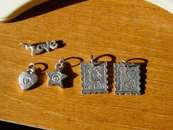 Set of Five Silver Tone Friendship Love Charms  #900380
