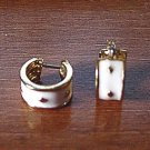 Pair of Gold and White Hoop Pierced Earrings   #900381