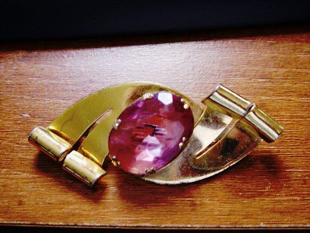Vintage Sterling Craft Co Brooch Gold Plate Large Pink Stone   #900388