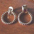 Pair of Gold Tone Door Knocker Pierced Earrings   #900392
