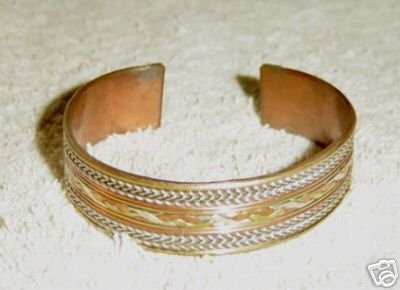 Two Tone Brass and Copper Cuff Bracelet    #900395
