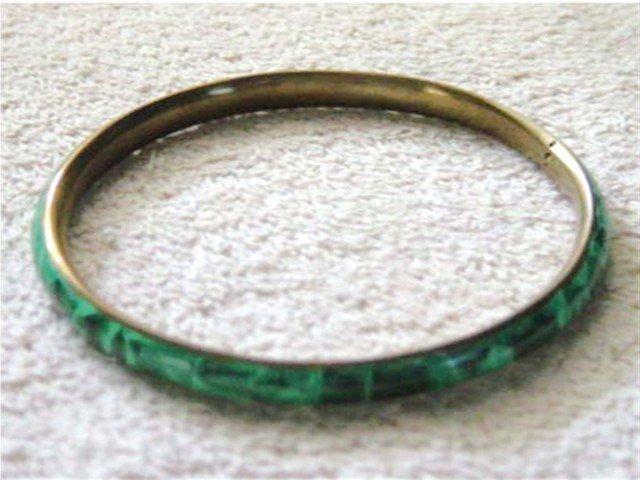 Brass Bangle Bracelet with Jade Stones   #900398