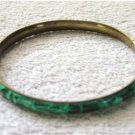 Brass Bangle Bracelet with Jade Stones   #900398