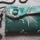 Vintage Asian Green Silk Small Shoulder Bag Purse Clutch #900438