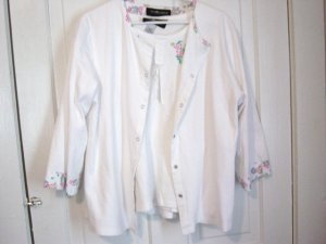 Size XL  White Sag Harbour Summer Woman's Top Blouse and 3/4 Sleeve Jacket #900453