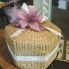 Vintage Small Dresser Storage Woven Wicker Hexagon Basket with Lid #900502