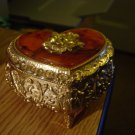 Vintage Footed Gold Brass Trinket Jewelry Box  Amber Top Gold Rose on Lid  #900507