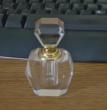 Art Deco Crystal Clear Perfume Bottle  #900547