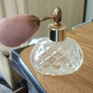 Vintage Diamond Cut Glass Refillable Perfume Bottle with Atomizer #900588