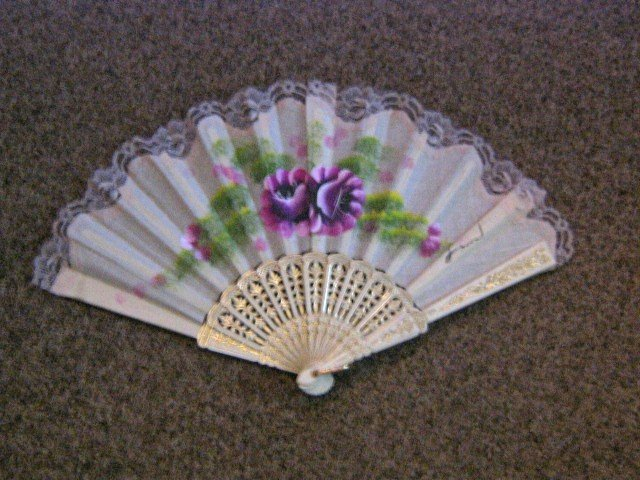 Folding Hand Fan Silk Chinese Classical Fan Asian Oriental with Gold Handle #900610