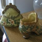 Set of Ceramic Victorian Ladies Highheel Shoe and Purse Trinket Box #900670