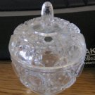 Small Glass Lidded round Vanity Trinket Box Ring Holder #900679