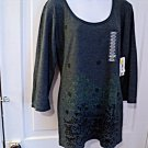New with Tags Erge Designs Womens 3/4 Sleeves T-Shirt Top in Indigo XL #900698