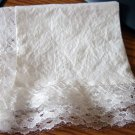 White Cotton Lace Edged Hankie Vintage #900436